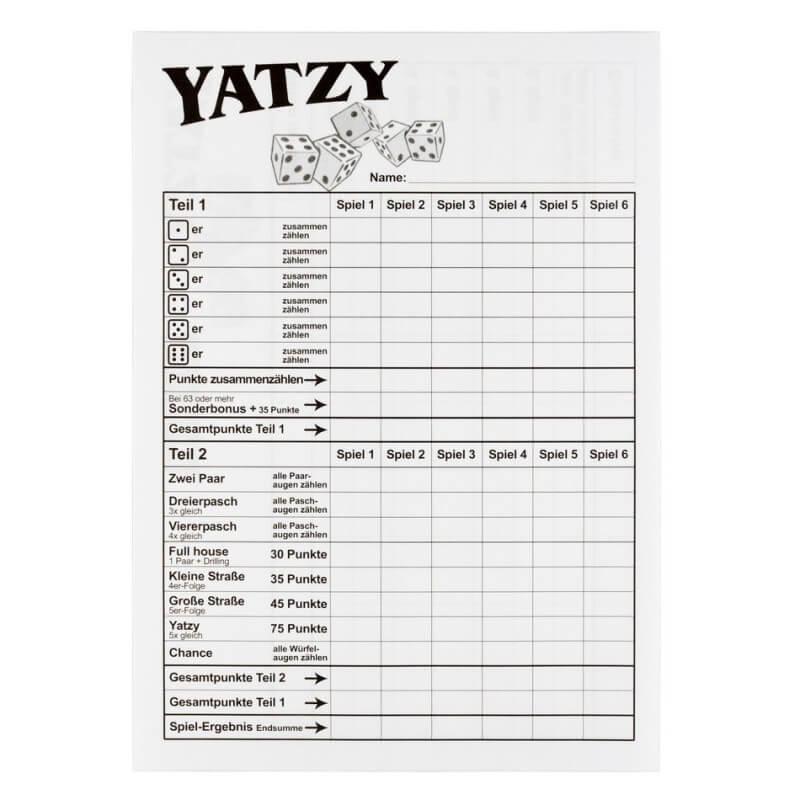 Yatzy Vorlage
